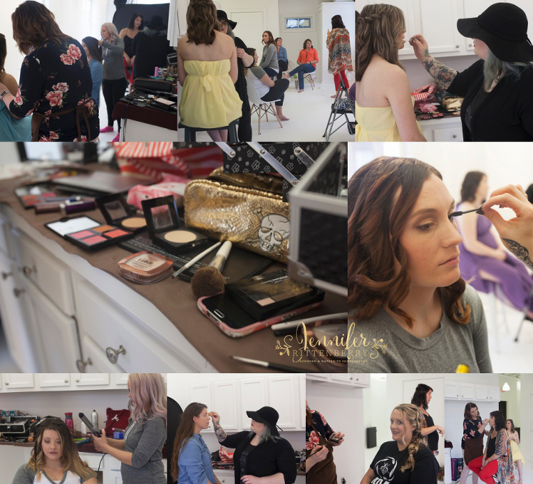 Behind the scenes make up and hair styling at the Rainbow Baby Maternity Event