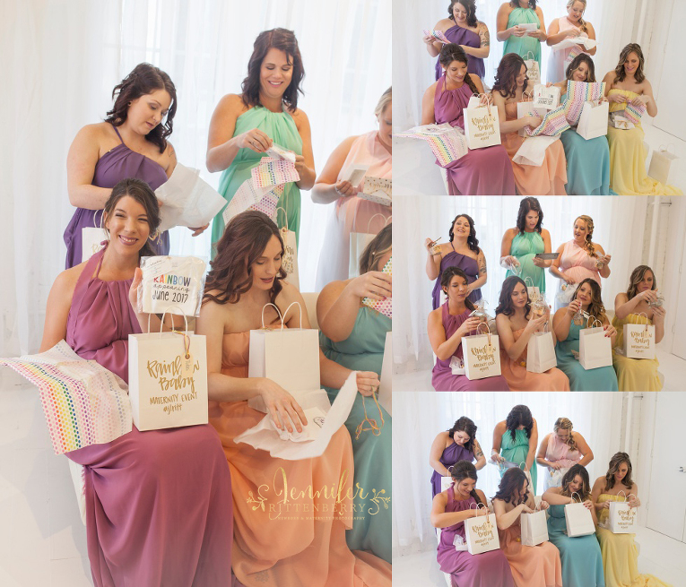 Rainbow Baby mommies opening up their swag bags dressed in pastel colors of the rainbow at the Rainbow Baby Maternity Event